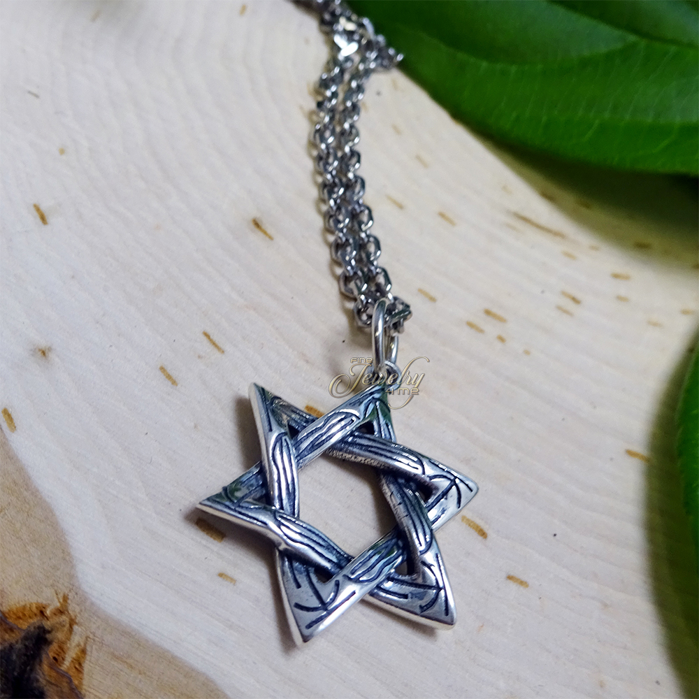 """Silver Rustic Textured Star of David .925 Silver 18/"""" Necklace"""